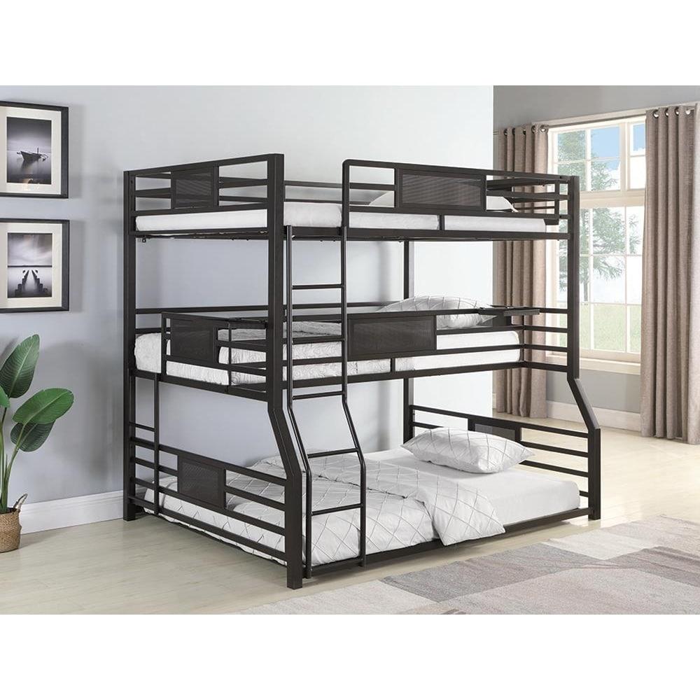 Alisso Black Triple Full Twin Xl Queen Bunk Bed On Sale Overstock 29062952