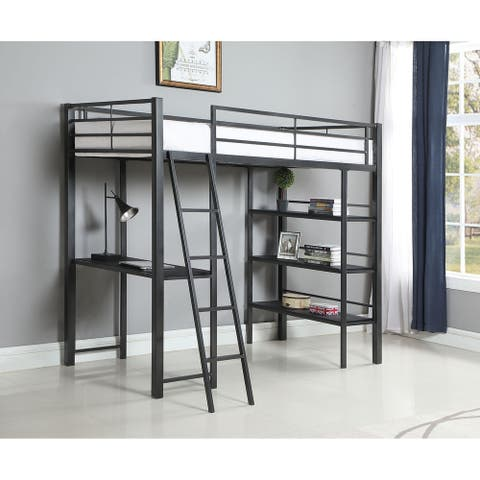 Hollis Gunmetal and Black Twin 3-shelf Workstation Loft Bed