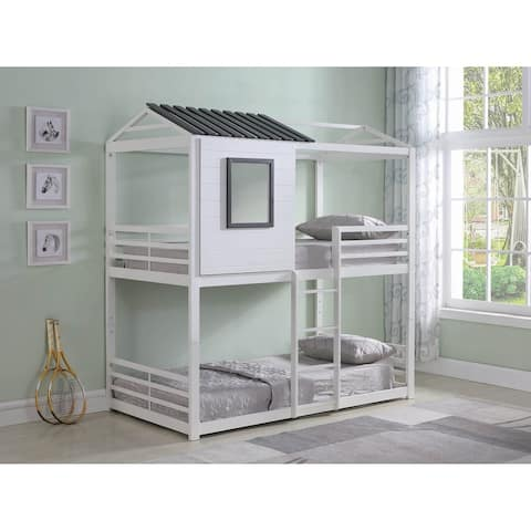 Liam White and Grey Twin/Twin Bunk Bed