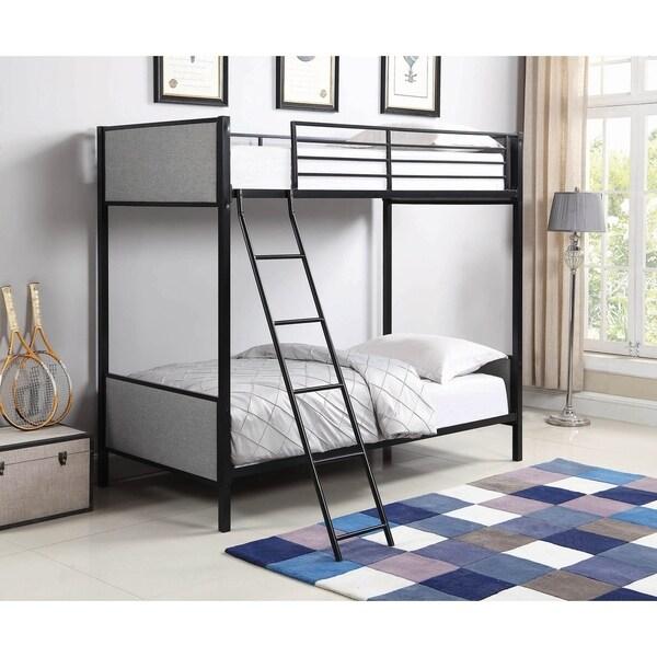 Aylen Black Upholstered Bunk Bed with Ladder