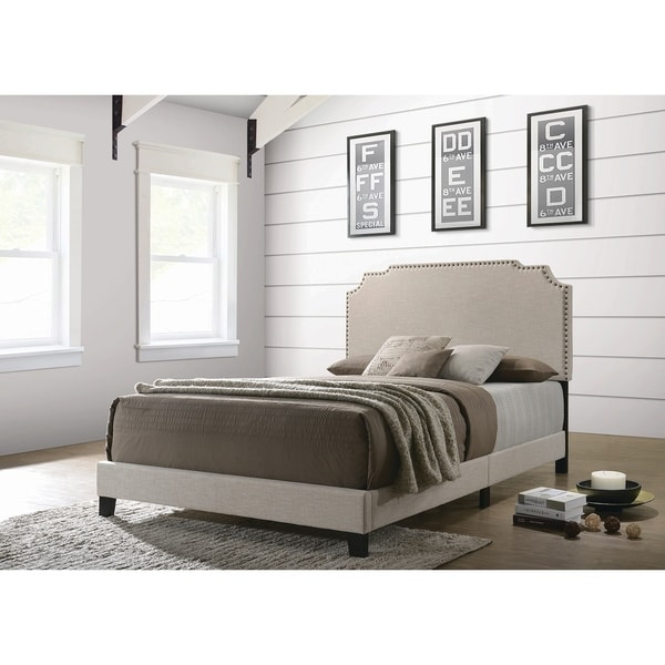 Copper Grove Biruinta Upholstered Panel Bed with Nailhead Trim