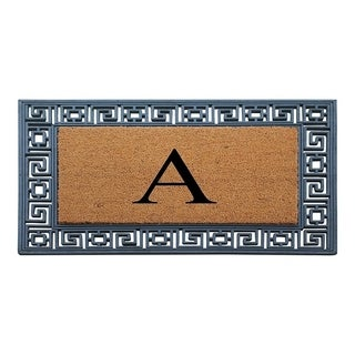 """A1HC First Impressions Rubber and Coir Greek Key Border 24"""" X 36"""", Heavy Duty, Outdoor Monogrammed Doormat"""