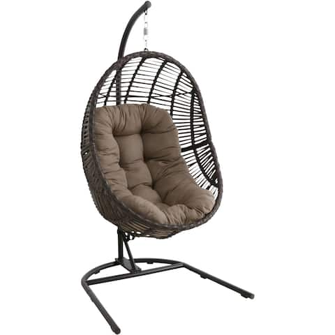 Isla Brown Wicker Hanging Egg Chair with Taupe Cushion