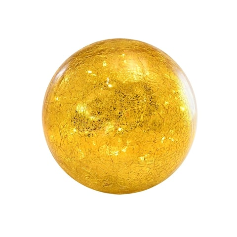 Golden Crackle Glass Globe with LED Fairy String Lights