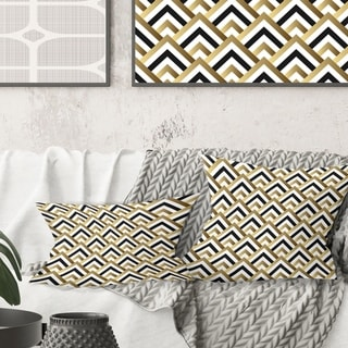 Link to Designart 'Gold black and white triangle' Mid-Century Modern Throw Pillow - 12 x 20 (As Is Item) Similar Items in As Is