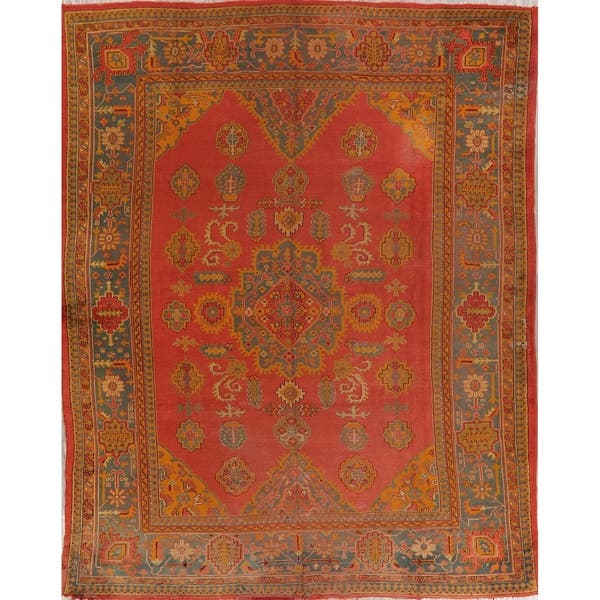 Traditional Oushak Hand Knotted Vintage Wool Faded Turkish Area Rug 11 2 X 9 1 On Sale Overstock 29063512