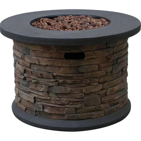 Bond Summit Stone Round Column Gas Fire Pit