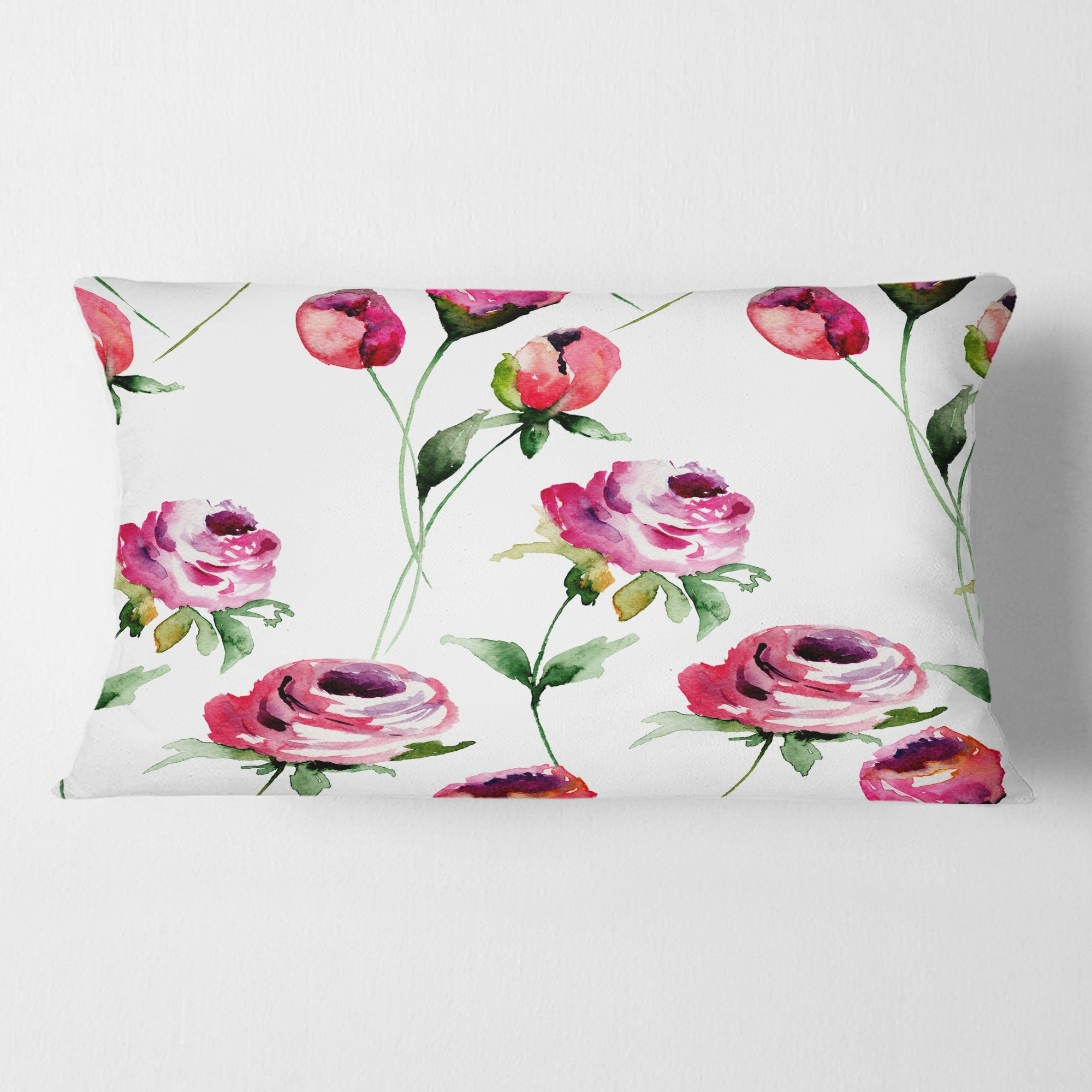 Designart Roses Flowers Pattern Mid Century Modern Throw Pillow Overstock 29063800