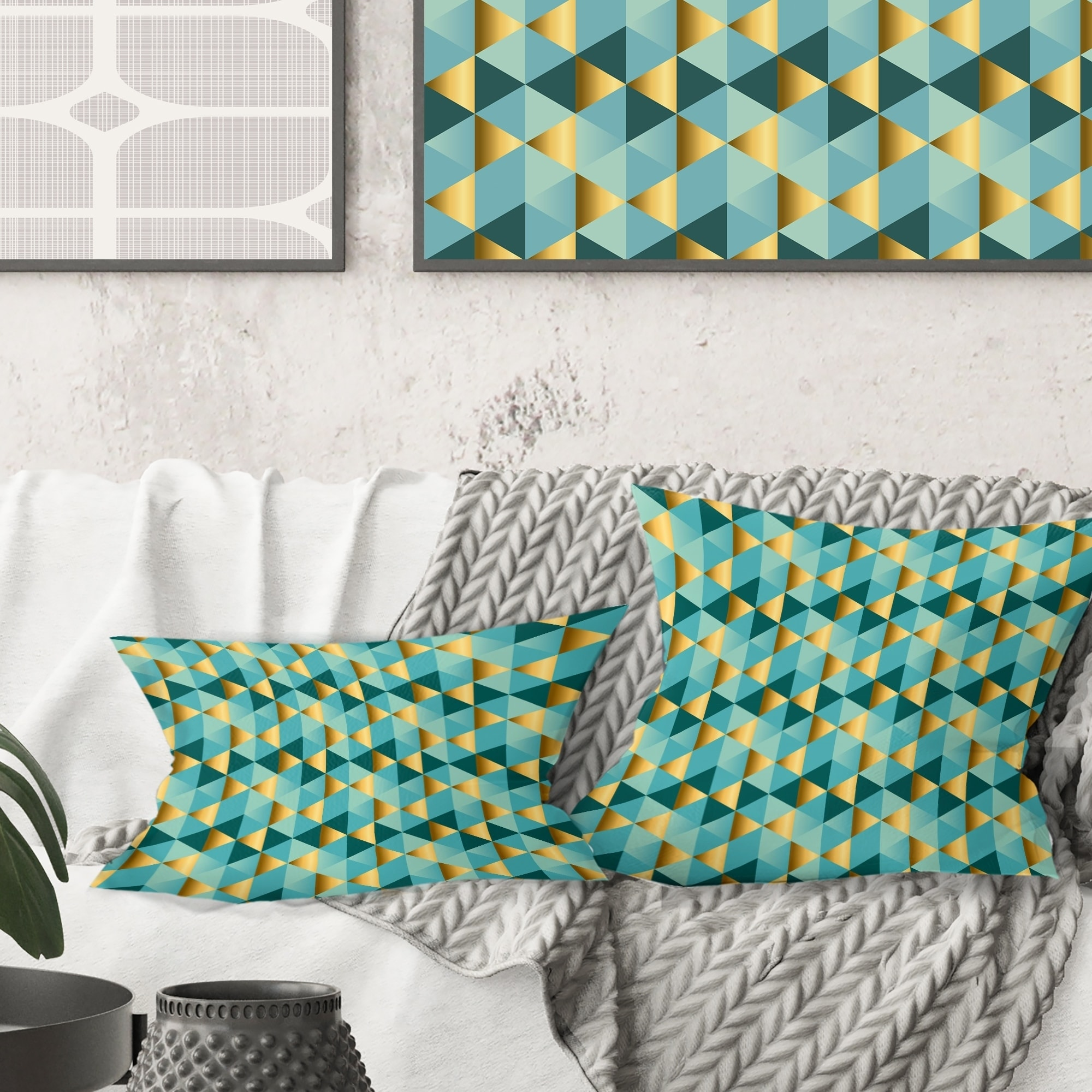 Picture of: Shop Designart Gold And Blue Dynamics V Mid Century Modern Throw Pillow On Sale Overstock 29063832