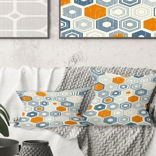 Designart 'Retro Hexagon Pattern IX' Mid-Century Modern Throw Pillow