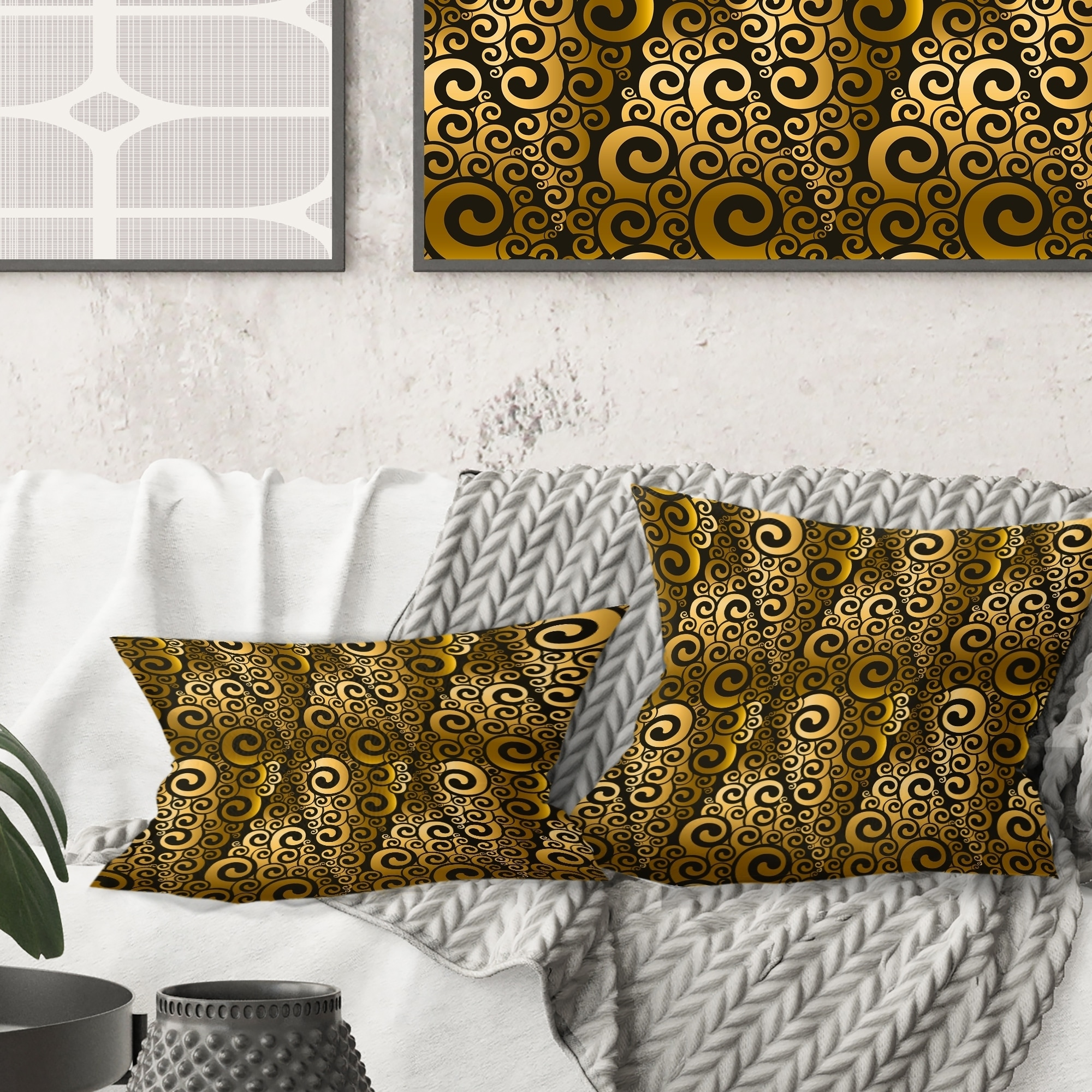 Designart Gold And Black Swirl I Mid Century Modern Throw Pillow Overstock 29063908