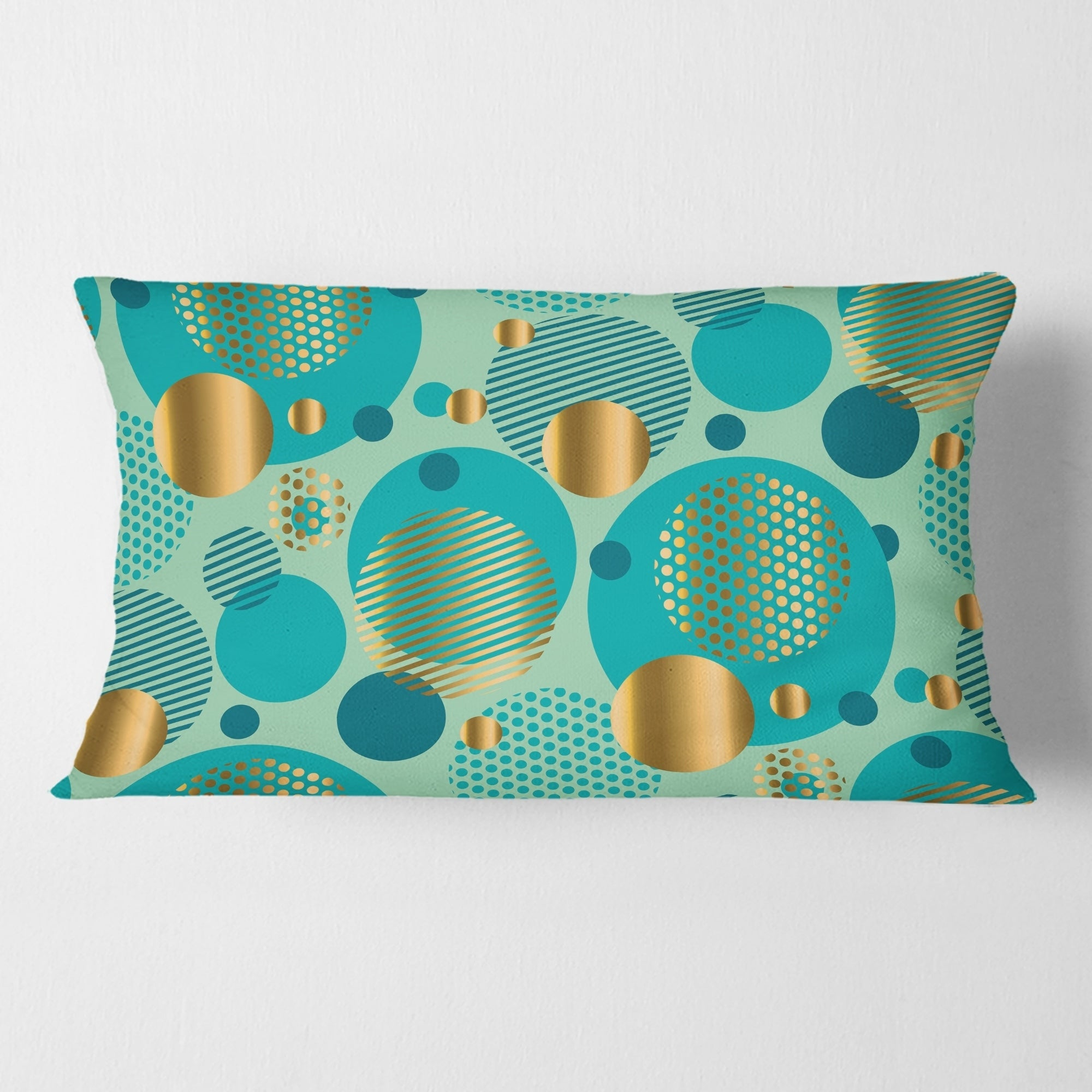 Picture of: Shop Designart Gold And Blue Dynamics Iii Mid Century Modern Throw Pillow Overstock 29063940