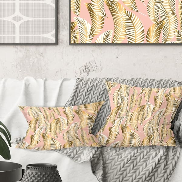 Terrific Designart Golden Palm Leaves I Mid Century Modern Throw Pillow Inzonedesignstudio Interior Chair Design Inzonedesignstudiocom