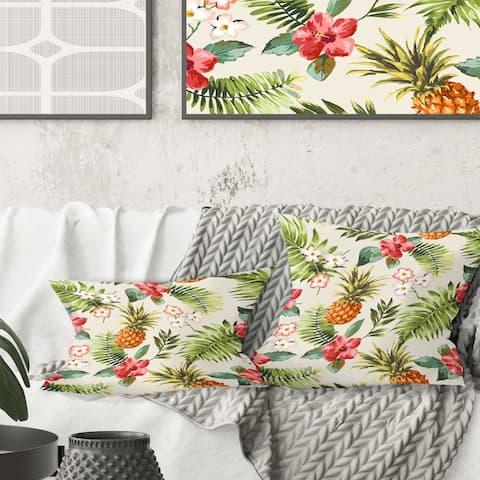 Designart 'Pineapple Summer Bliss IV' Mid-Century Modern Throw Pillow
