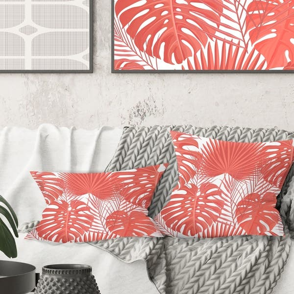 Wondrous Designart Tropical Retro Foliage Coral I Mid Century Modern Throw Pillow Inzonedesignstudio Interior Chair Design Inzonedesignstudiocom