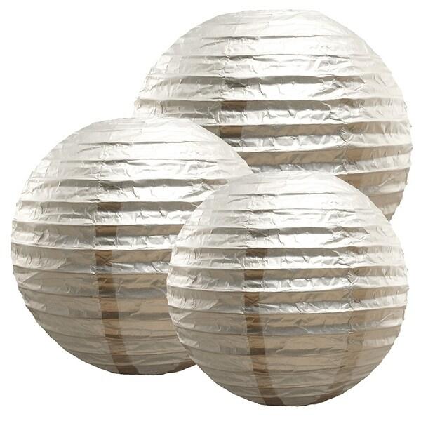 Metallic Silver Multi Size Paper Lanterns, Set of 6