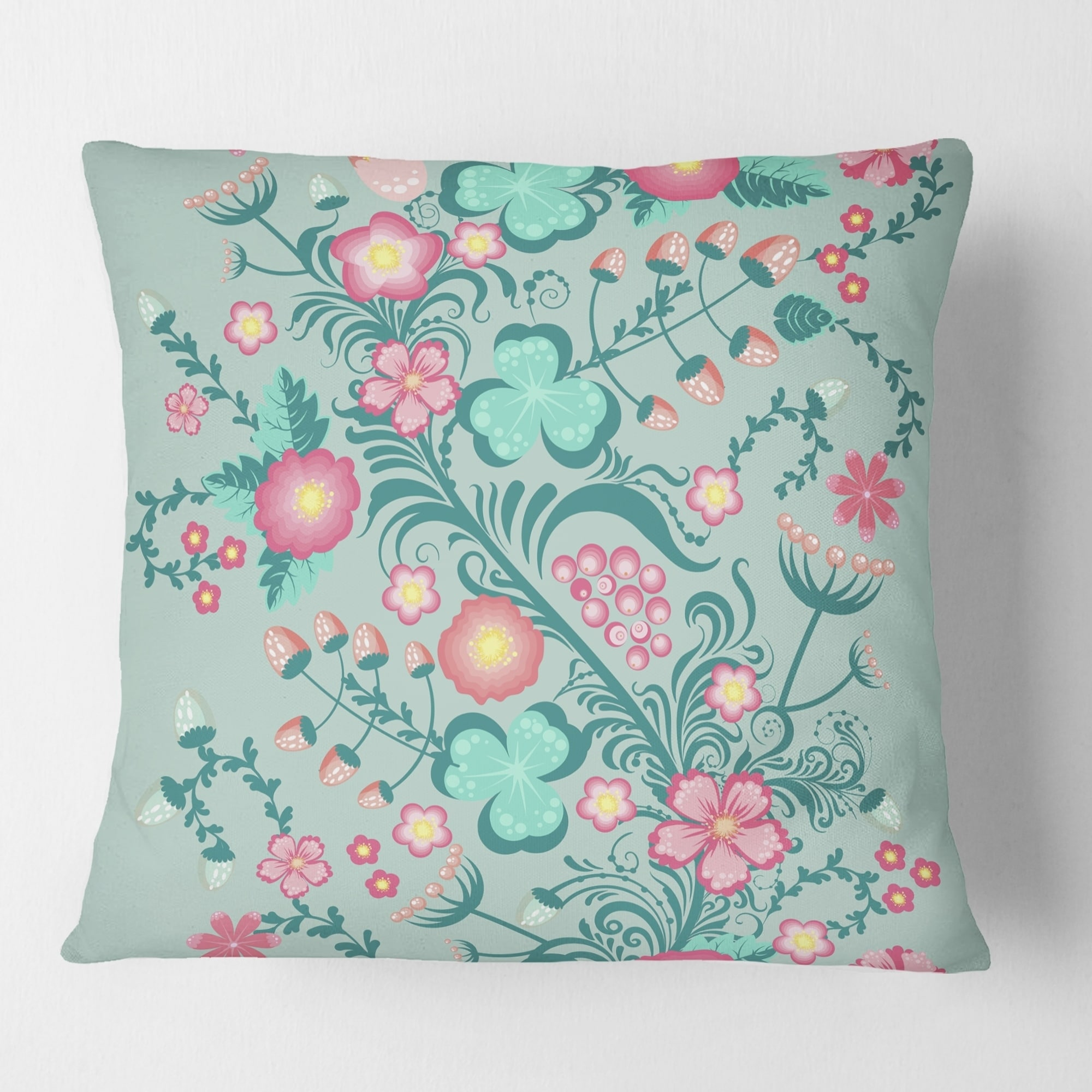 Designart Spring Floral Pattern In Soft Pastel Colors Mid Century Modern Throw Pillow Overstock 29064239