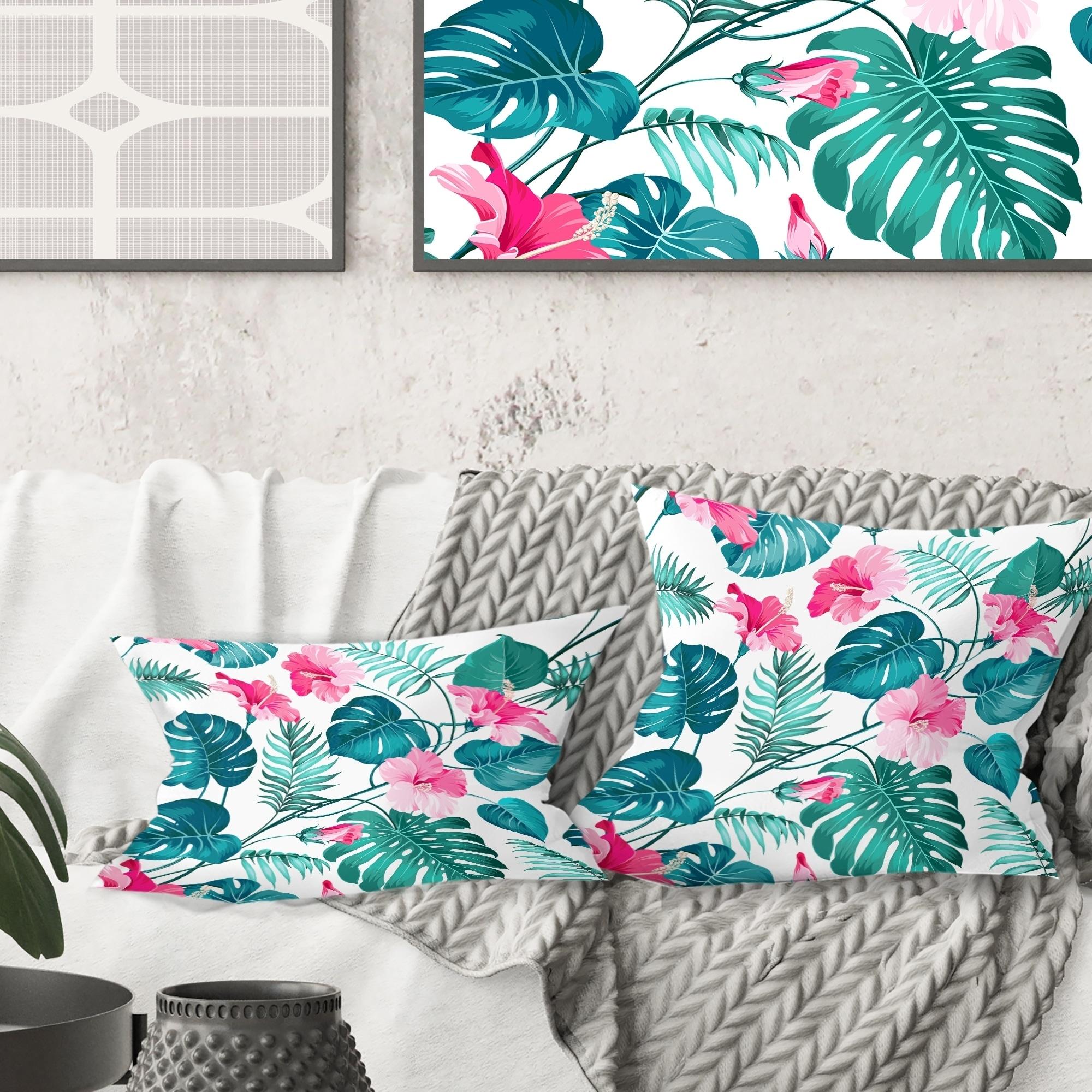 Designart Tropical Botanicals And Flowers Mid Century Modern Throw Pillow Overstock 29064304