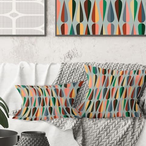 Designart 'Retro Abstract Drops IX' Mid-Century Modern Throw Pillow