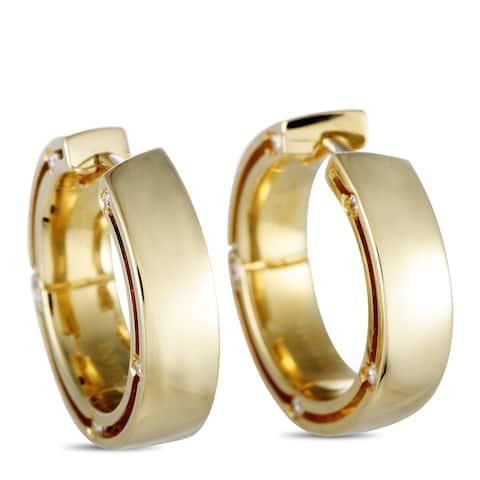 Damiani D.Side Yellow Gold Diamond Round Hoop Earrings