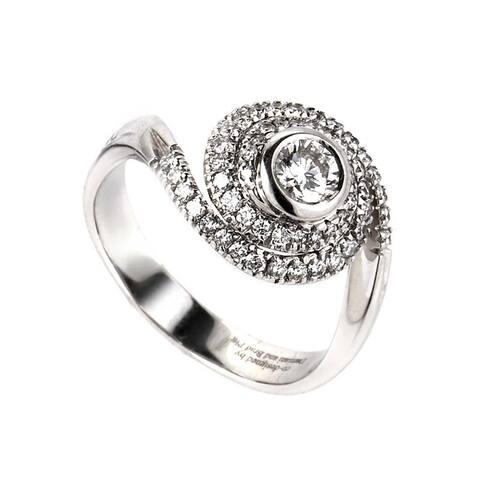 Damiani Promise White Gold Diamond Swirl Engagement Ring