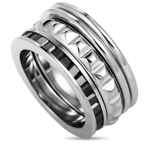 Calvin Klein Astound Stainless Steel & Black Cubic Zirconia Ring Size 5