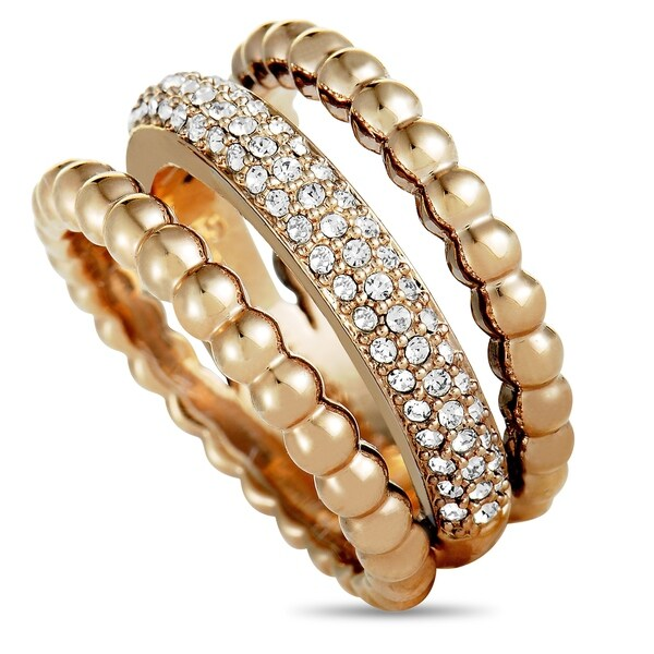 d637a97e9cace Swarovski Click Rose Gold-Plated and Crystal Triple Strand Ring