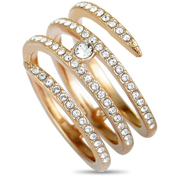a6e214382b9d4 Swarovski Creativity Rose Gold-Plated Crystal Coiled Ring