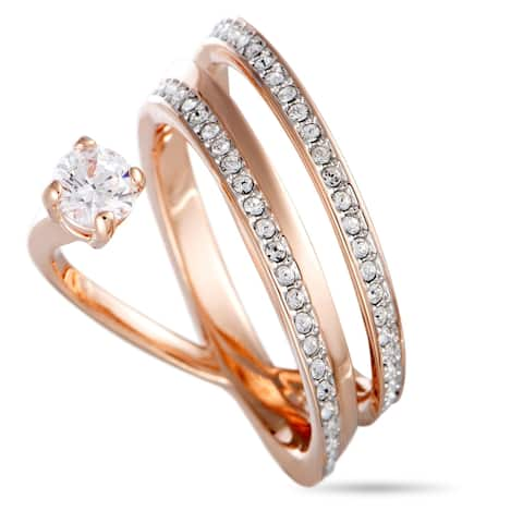 Swarovski Fresh Rose Gold-Plated Crystal Swirl Ring Size 6.75