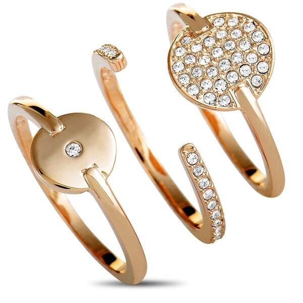 1236c8c954cd8 Swarovski Ginger Rose Gold-Plated Crystal Three Ring Set