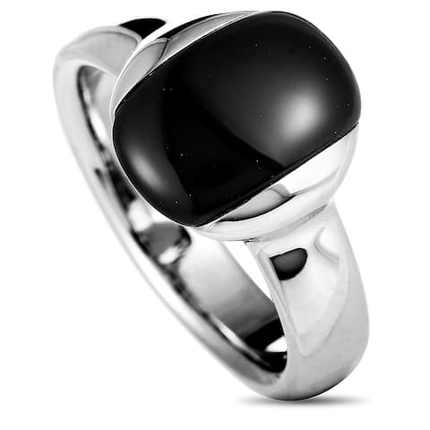 Calvin Klein Devoted Stainless Steel and Black Cat's Eye Ring Size 6