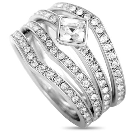 Swarovski Alpha Rhodium- Plated Crystal Three Ring Set