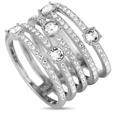 Swarovski Creativity Rhodium-Plated Crystal Wide Ring Size 6.75