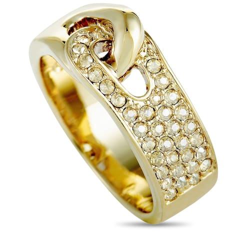Swarovski Gallon Gold-Plated and Crystal Interlocking Band Ring Size 6.75