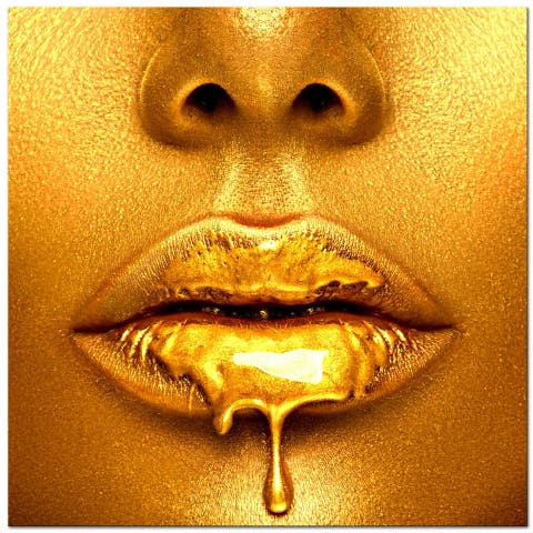 """Oppidan Home """"Dripping in Gold"""" Acrylic Wall Art (40""""H X 40""""W) - Gold"""