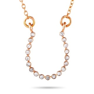 Rose Gold Diamond Horseshoe Pendant Necklace