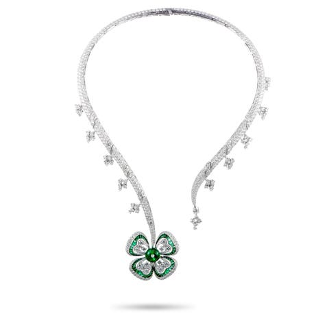 Bvlgari White Gold Full Diamond Pave and Emerald Flower Pendant Necklace
