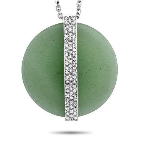 Swarovski Rhodium-Plated Crystal Pave Green Disk Pendant Necklace