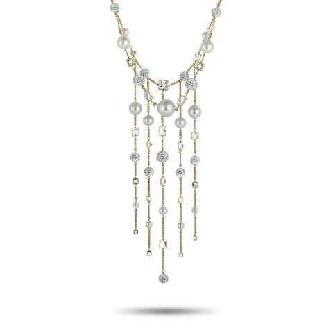 Swarovski Elegance White Gold-Plated Crystal, Crystal Pearl and Crystal Pave Necklace