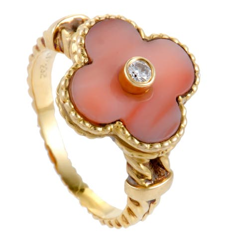 Pre-Owned Van Cleef & Arpels Vintage Alhambra Yellow Gold Diamond and Coral Ring Size 5