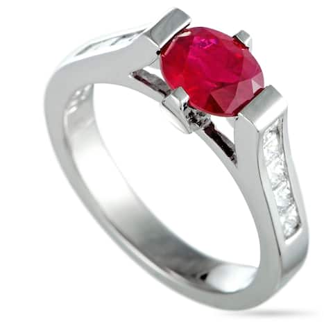 Pre-Owned Platinum Diamond and Ruby Oval Ring Size 6.25
