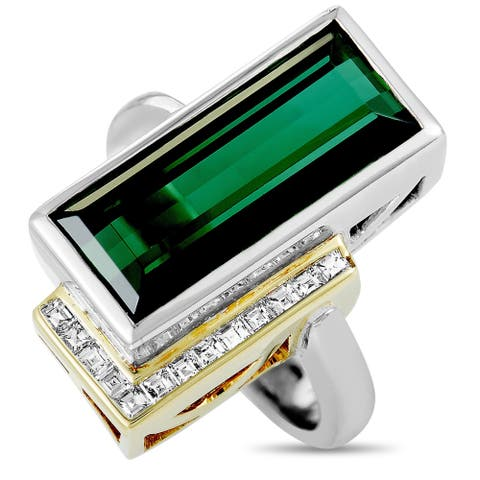 Pre-Owned Platinum and Yellow Gold Diamond and Tourmaline Rectangle Ring Size 9.25