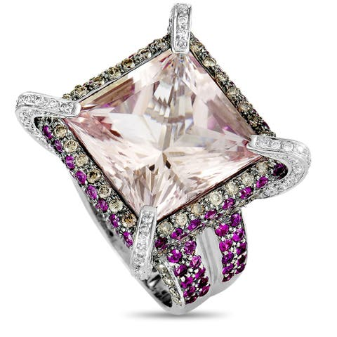 Pre-Owned White Gold Diamond, Kunzite and Ruby Square Ring Size 7.25