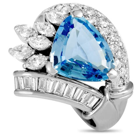 Pre-Owned Platinum Round, Baguette, and Marquise Diamonds and Aquamarine Trillion Ring Size 8.75
