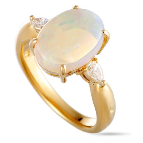 Pre-Owned Yellow Gold Pear Diamond and Opal Oval Ring Size 7.75
