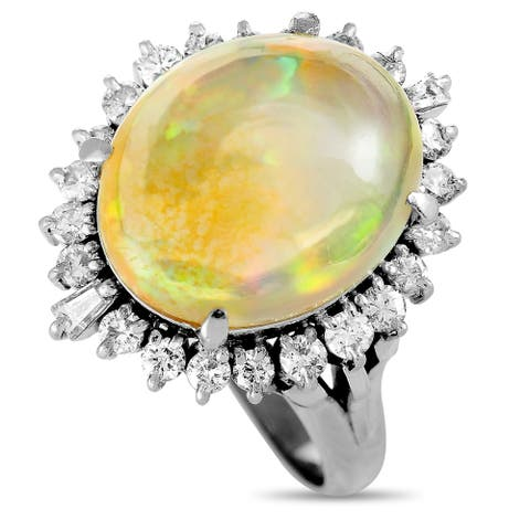 Pre-Owned Platinum Diamond and Opal Oval Ring Size 5.75