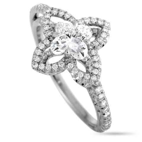 Pre-Owned Louis Vuitton Monogram Fusion Platinum and Diamond Engagement Ring Size 7.5