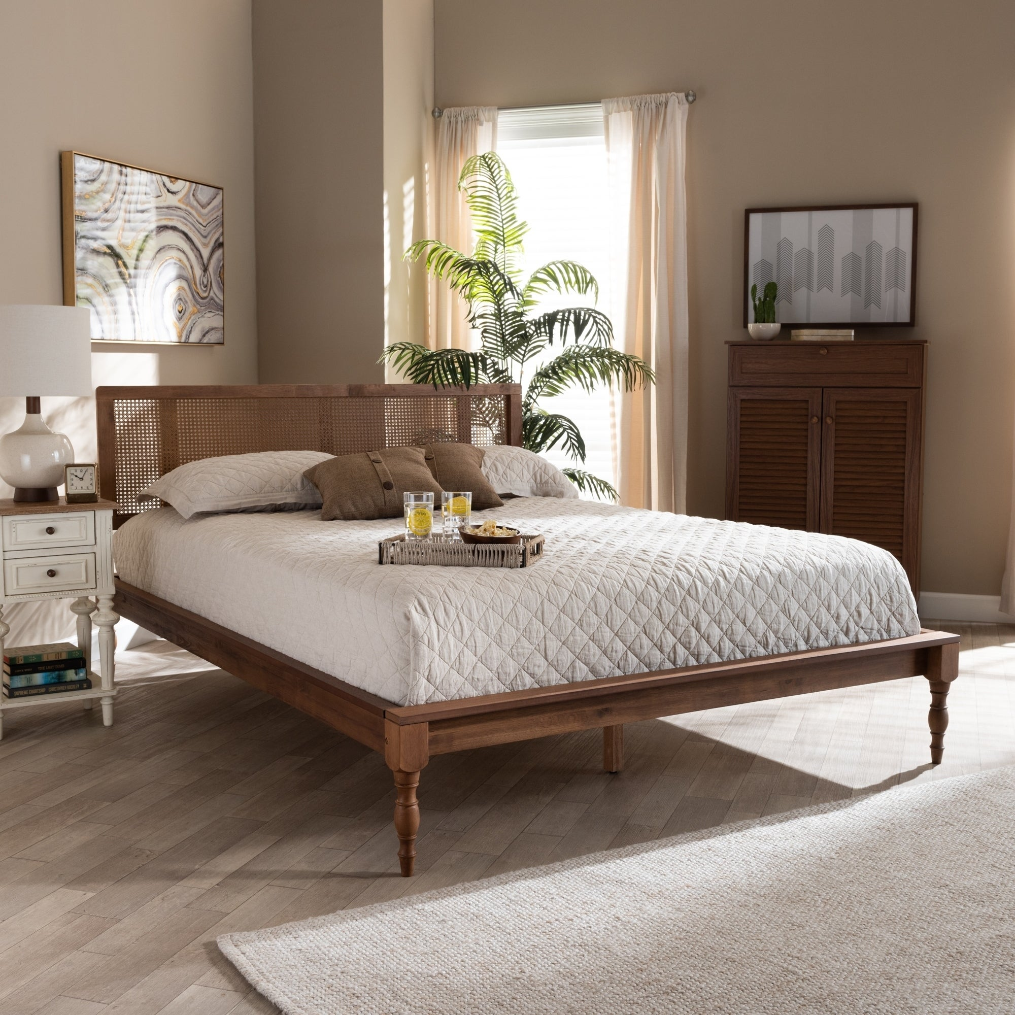Carson Carrington Ullared Wood And Synthetic Rattan Platform Bed Overstock 29065814