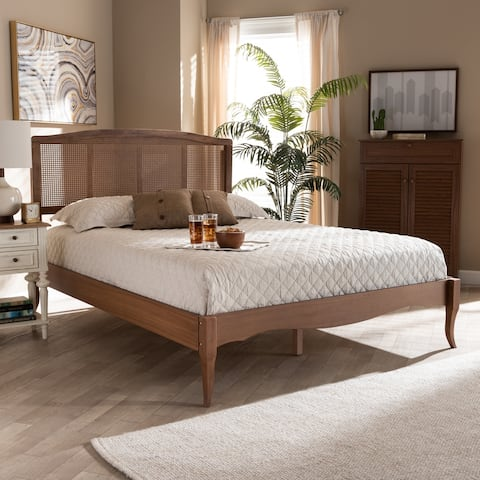 Marieke Vintage French Inspired Wood and Synthetic Rattan Platform Bed