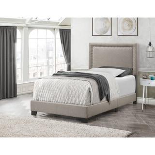 Copper Grove Kapfenberg Modern Beige Linen Upholstered Bed with Nailhead Trim